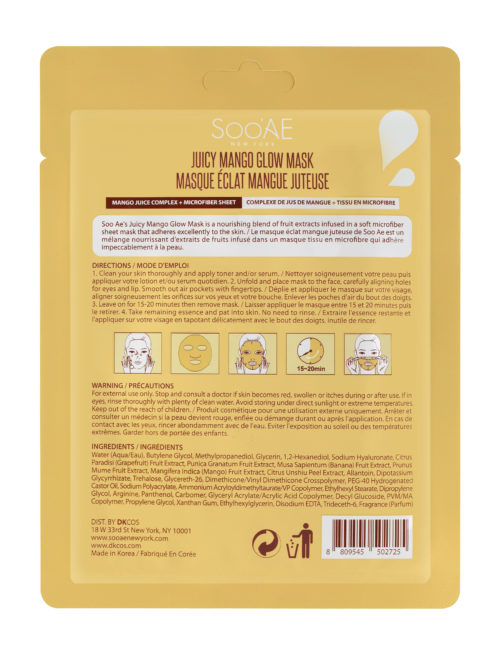 Soo Ae Juicy Mango Glow Mask_Back